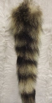 Natural Raccoon tail with Ball chain.